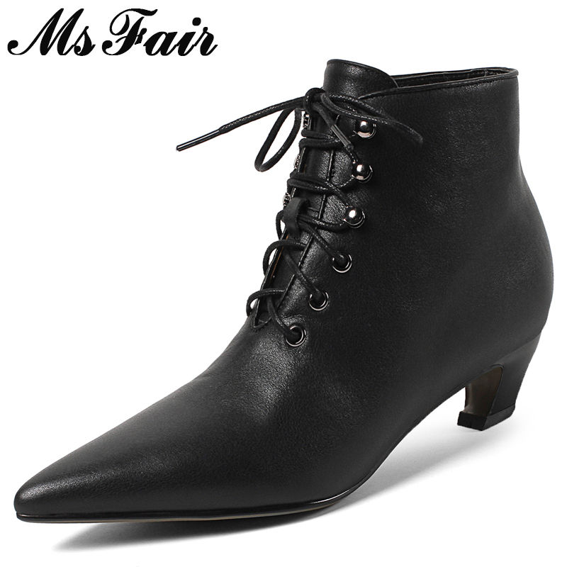 MSFAIR Women Boots Hot Selling Pointed Toe Square heel Ankle Boots Women Shoes Lace Up Med Heel Cross Tied Boot Shoes For Girl msfair women boots 2018 hot selling crystal ankle boots women shoes pointed toe high heel boot shoes square heel boots for girl