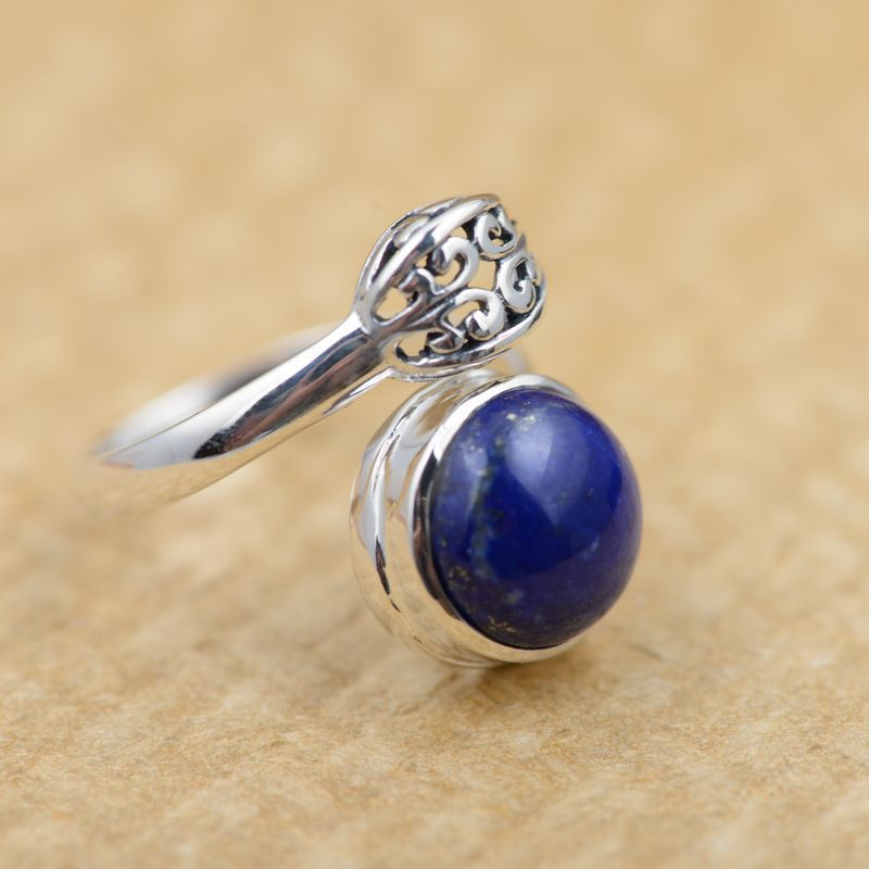 Lapis S925 Sterling Silver Ring Nvjie style antique silver wholesale opening of micro channel explosion agent цена