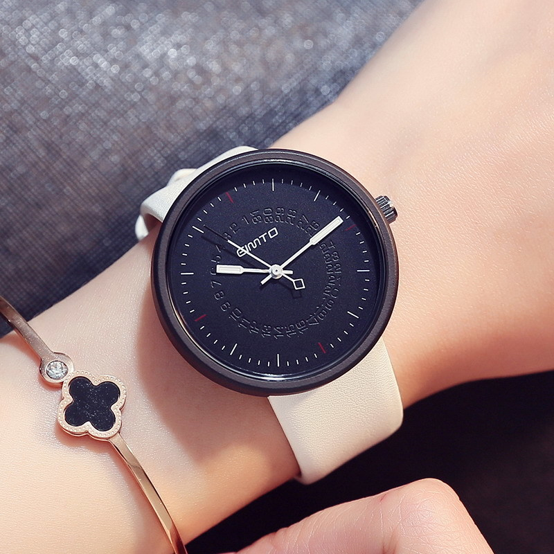 GIMTO New Women Leather Bracelet Watches Fashion Casual Women Quartz Watch Ladies Watches Top Brand Luxury Clock bayan kol saati 2017 luxury brand jw creative watch clock women leather quartz watches ladies fashion geneva casual dress wristwatches kol saati