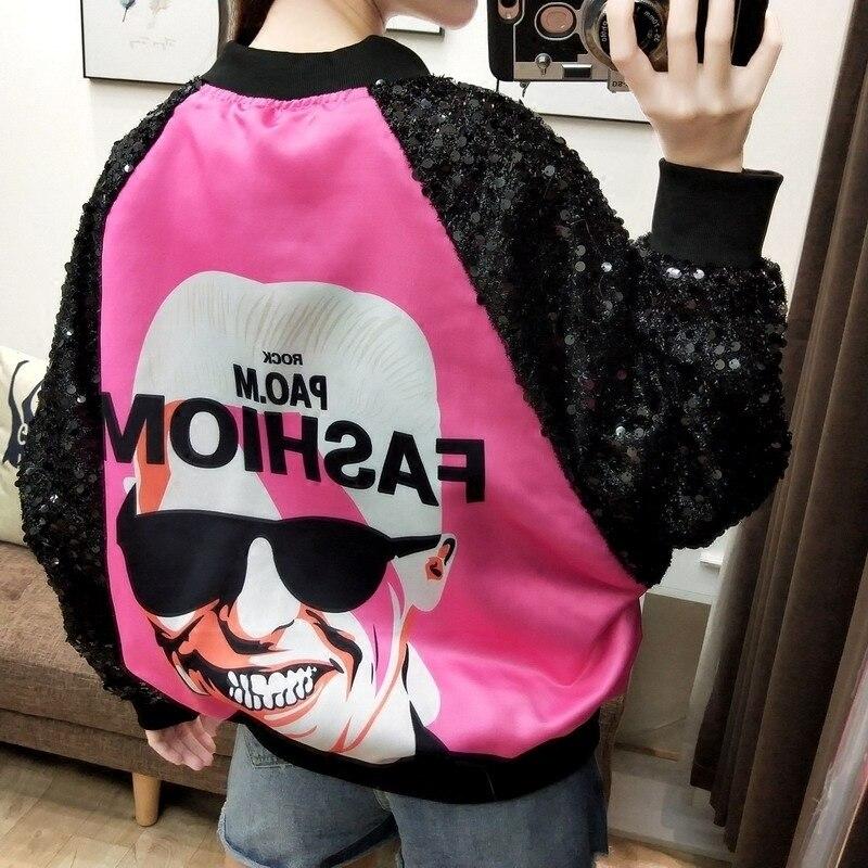 Women's Clothing 2018 Autumn New Punk Rock Hip Hop Girls Teenager Dinosaur Cartoon Print Loosen Jacket Bat Sleeve Sequin Coat Student Basic Jackets