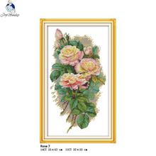 Joy Sunday The Rose 7 Counted Cross Stitch Kits DMC DIY 11CT 14CT Cross-Stitch Handmade Embroidery nkf Needlework
