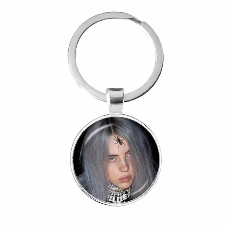 Hot Billie Eilish Fans Key Chain Fashion Singer Harajuku Print Handmade Glass Cabochon Keychain Punk Metal Keyrings For Gift