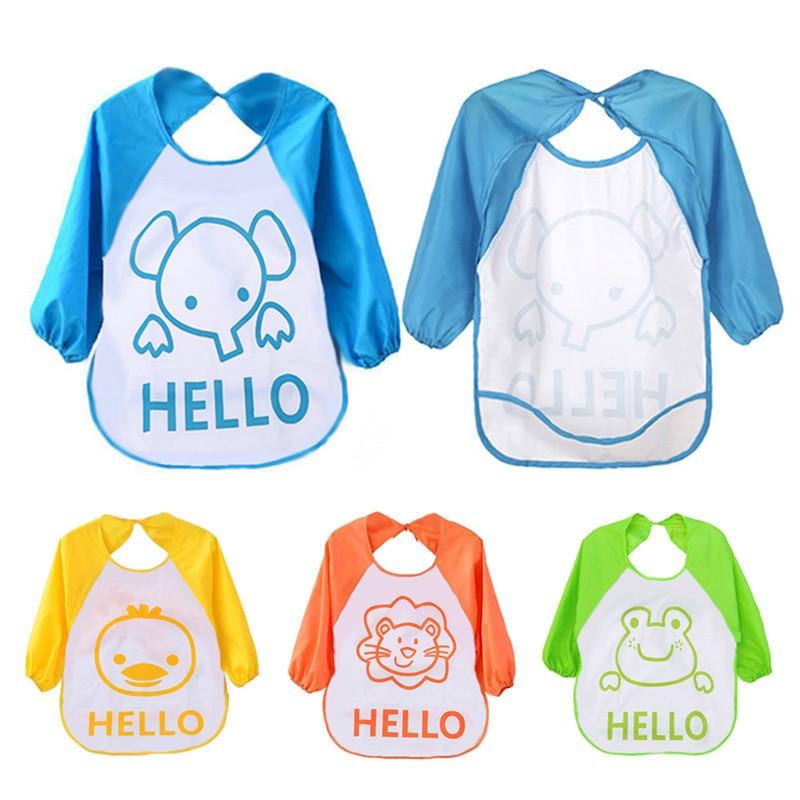 Backwards Lovely Baby Bibs Waterproof and Long Sleeve Baby Bibs with Fashion Cute Cartoon Animals Pattern Feeding