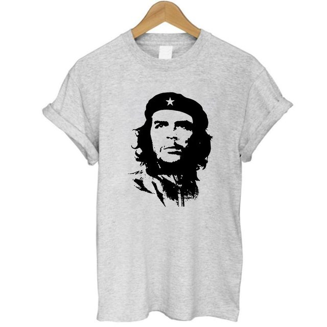 11e2a5043 COOLMIND CH0113B 100% Cotton Che Guevara Graphic Print T-shirt White Grey  Summer Style Women loose T Shirt Female Blusa Women