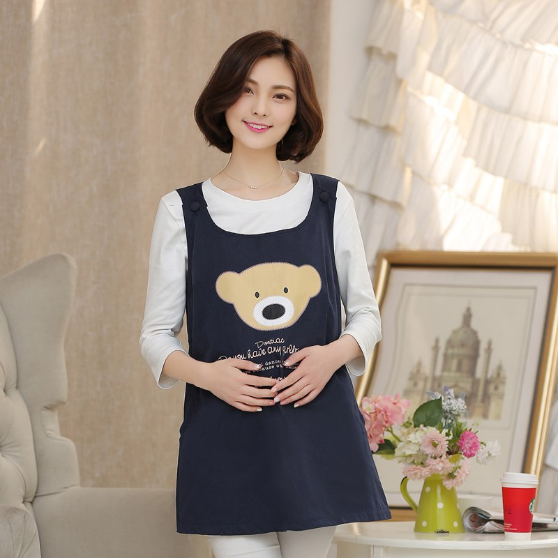 2018 New Cartoon Radiation Maternity Dress Four Seasons Korean Fashion Letter Print Dress letter print knot front top