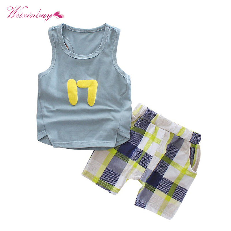 Boys Summer Clothes Set 2018 2 Pieces Cotton Vest Shorts Pants Set Baby Boy Fashion Outerwear Clothes Suit