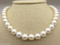 Hot sale new Style >>>>>AAA+ 9 10mm Fine White Saltwater Pearl Necklace 17.5