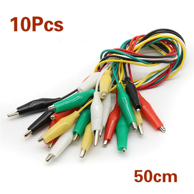 New 10 Pcs Colorful Double Ended Alligator Crocodile Clips Test Lead Jumper Wires Aligator Clip Cable Electrical Wire Supplies