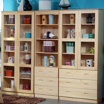 bookcases living room furniture home furniture solid pine wood bookcase with drawer bookshelf whole sale