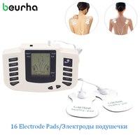 Beurha 16 Chinelos Pads Eletrodo Estimulador Elétrico Corpo Relaxar Terapia dezenas de Pulso Acupuntura para o pé Massagem no pescoço de volta
