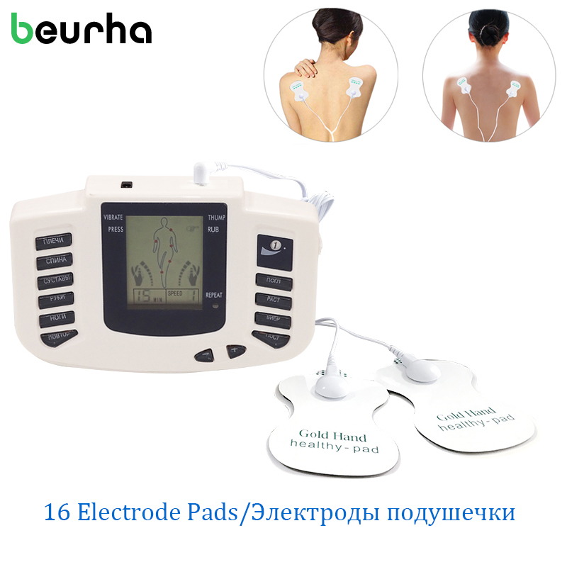 NEW Health Care Electrical Muscle Body Stimulator Massageador Tens Acupuncture Therapy Machine Slimming Body Massager 16pcs