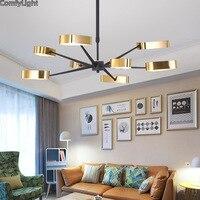 Современные светодиодный Люстра для гостиной спальня столовая золото абажур Nordic Дизайн дома, люстра, лампа светильник светодиодный