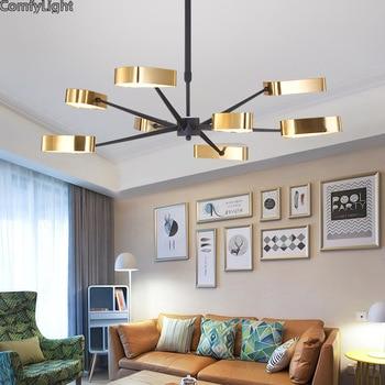 Modern LED Lampu Gantung untuk Ruang Tamu Kamar Tidur Ruang Makan Emas Kap Lampu Nordic Desain Lampu Gantung Perlengkapan Pencahayaan LED