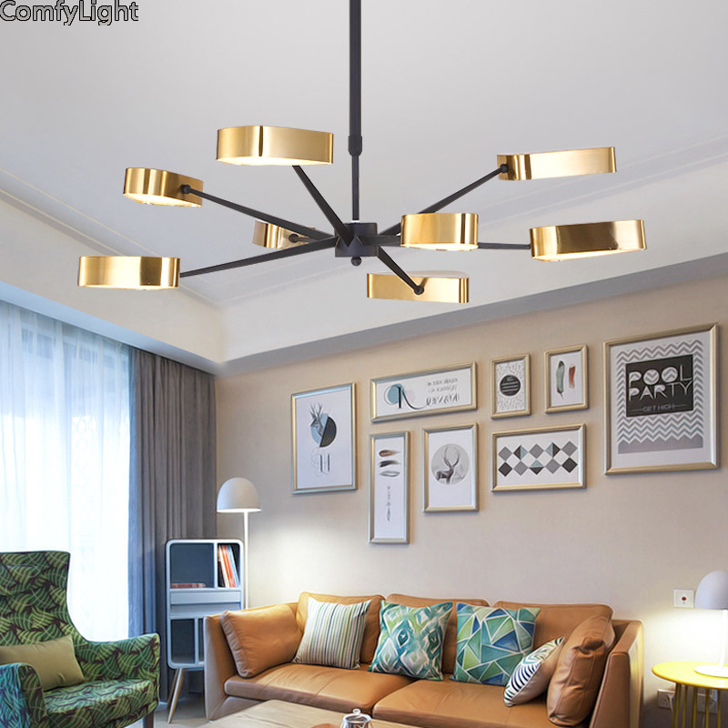 Moderno led lampadario per soggiorno camera da letto sala da pranzo Oro paralume Nordic Design per la casa lampadario apparecchio di illuminazione della lampada LED