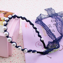 South Korea's  wind Pearl lace bowknot ribbon bind hair band Head band hair band