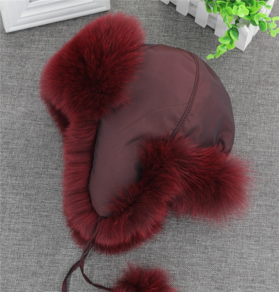 On Sale 100% Real Fox fur Women's Russian Ushanka Aviator trapper snow skiing Hat caps earflap winter raccoon fur Bomber hat 15