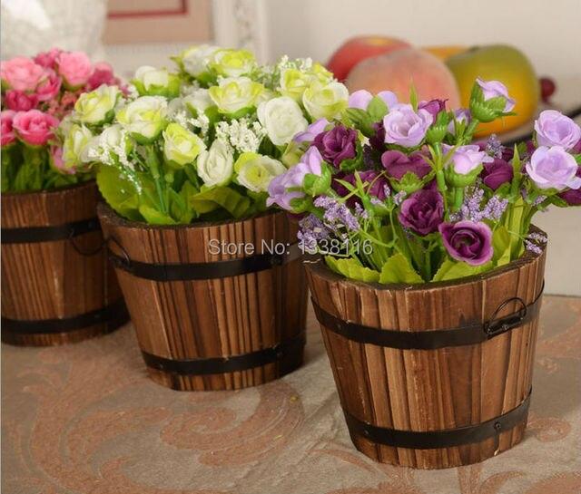 1 set di legno barile + fiori rosa e Margherita set fiore artificiale fiori di seta della decorazione della casa Regalo Di Compleanno