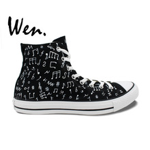 Wen Hot Original Design Custom Hand Painted Shoes Music Notes Black High Top Canvas Sneakers Men Women's Birthday Gifts