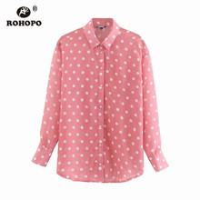 ROHOPO Autumn Chic Polk Dot Pink Long Sleeve Blouse For Women Lantern Buttons Fly Straight Loose Female Top Shirt #UZ9208