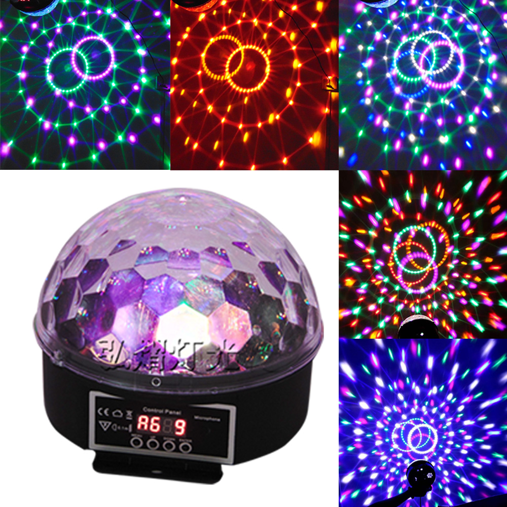 9 Colors 27W Crystal Magic Ball Led Stage Lamp Disco Laser Light Party Lights Sound Control DMX Lumiere Laser