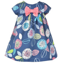 Baby girls new style 2-7T summer dresses kids hot selling floral dress with printed some flowers top quality baby girls clothing