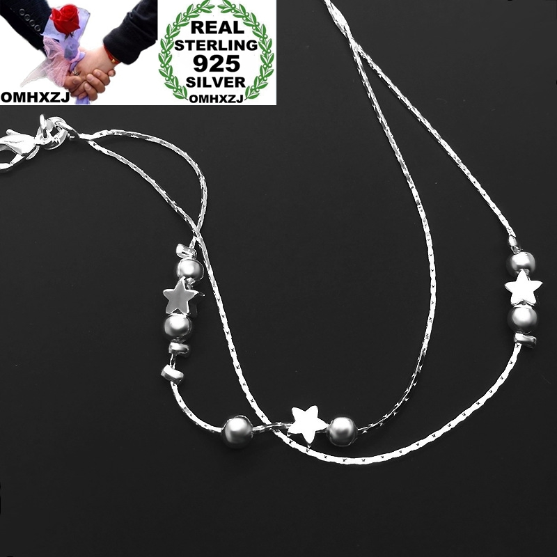 OMHXZJ Wholesale European Fashion Woman Girl Party Birthday Wedding Gift Star Beads Two Lines 925 Sterling Silver Anklet JL04