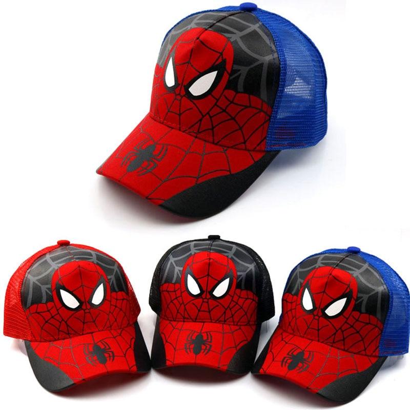 New Fashion Cartoon Child Baseball Cap Spiderman Super Hero Summer Kids Sun Hat Mesh Cap Snapback Children Caps