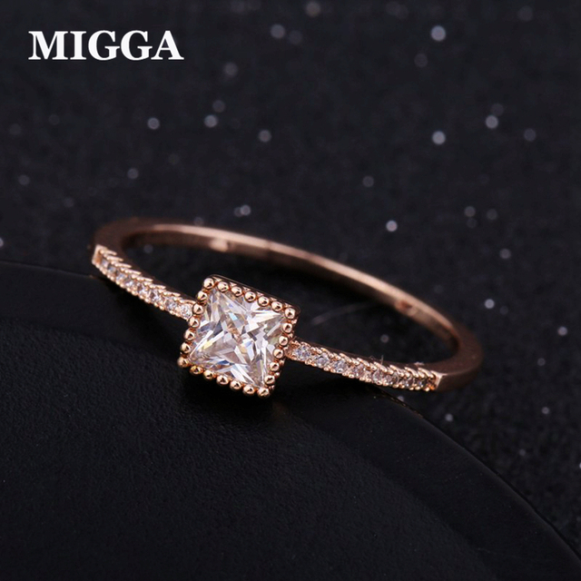 MIGGA Shining AAA Grade Square Cubic Zircon Ring CZ Crystal Stone Women Engagement Ring Rose Gold Color