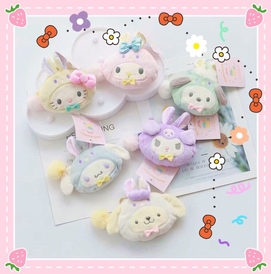 Sanrio Hello Kitty My Melody Cinnamoroll Pom Pom Purin Cartoon Plush Coin Purse Bags Cute Wallet Key Chain Bag For Girls Gifts