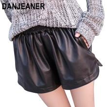 Danjaner S XXL 2018 جديد مرونة الخصر بولي Leather السراويل الجلدية المرأة السوداء عالية الجودة سراويل قصيرة مع جيوب فضفاضة السراويل غير رسمية