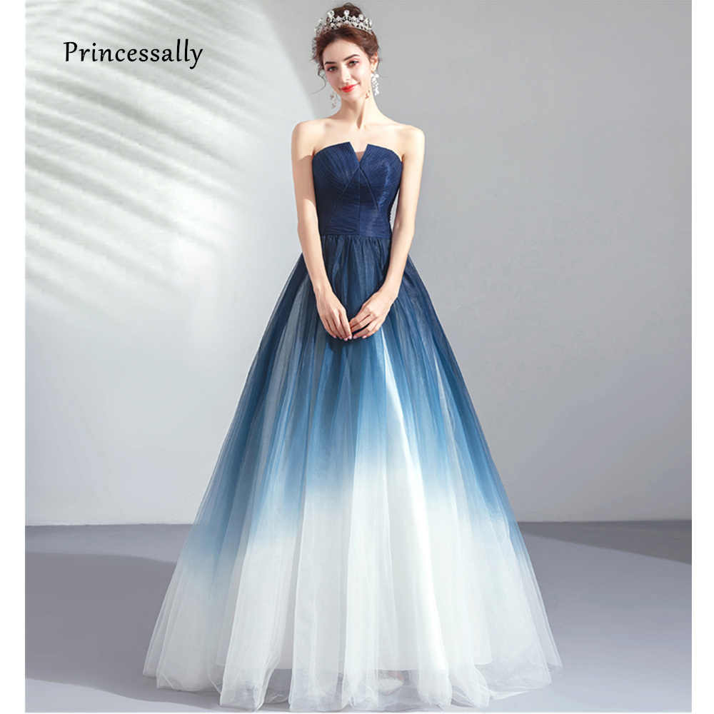 Vestiti Eleganti Immagini.Long Elegant Evening Party Prom Gown Color Fade Sexy Strapless