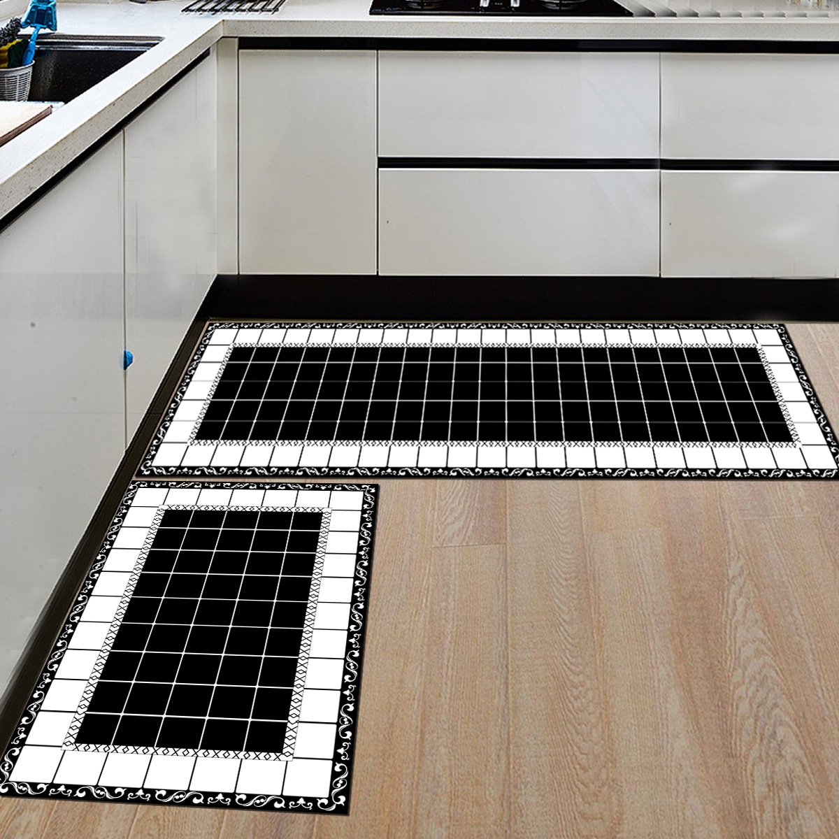 Kitchen Mats and Rugs Black And White Small Square Geometric ...