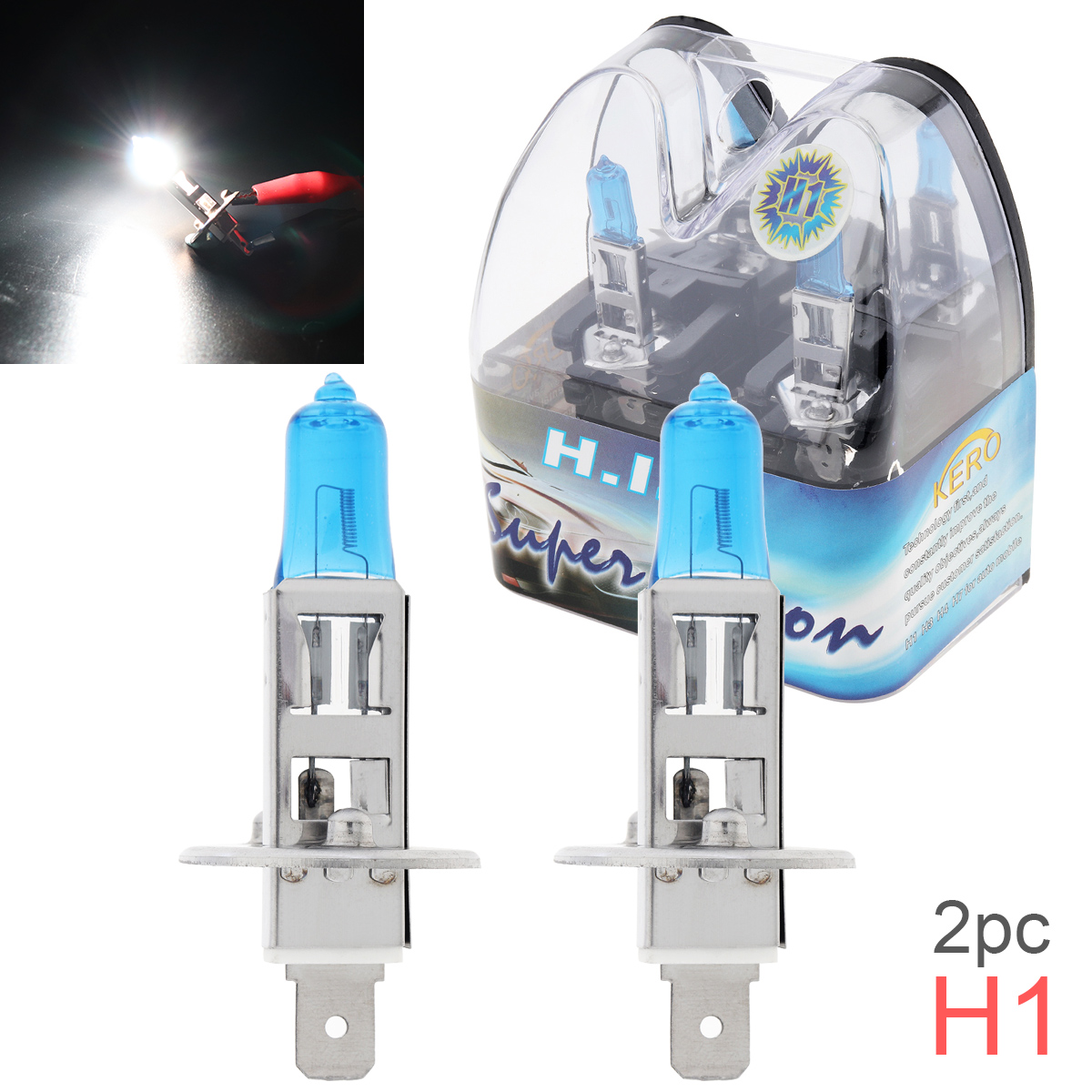 2 Pcs DC 12V H1 55W 6000K White Light Super Bright Car Single Xenon Halogen Lamp Auto Front Headlight Fog Bulb External Lights