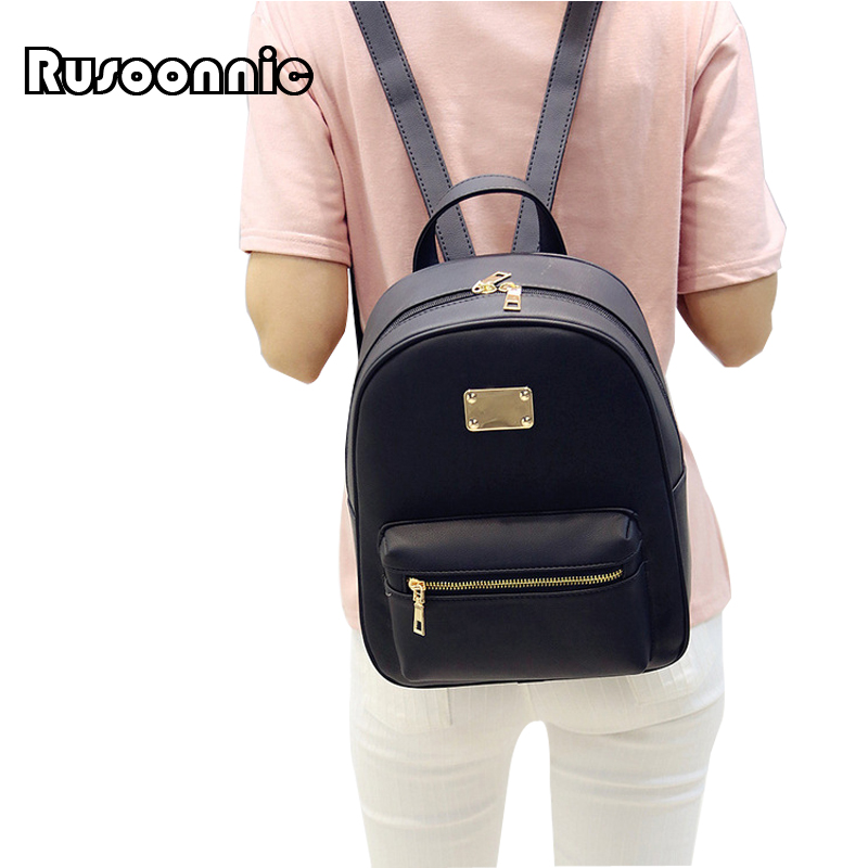 Rusoonnic Leather Backpack Women Backpack Black Pu Bagpack School Bags for girls Mochila Feminina mochila escolar
