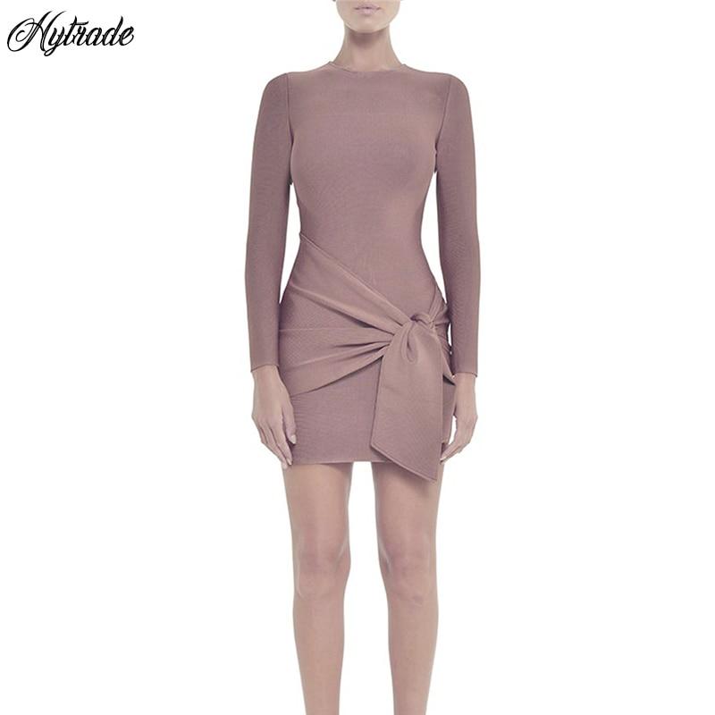6ab977b695dfa 2018-Nouveau-Pas-Cher-Femmes -Bandage-Robes-Col-Rond-Cravate-Unique-Piste-Moulante-Nude-Rose-Bandage.jpg