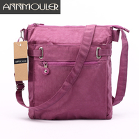 Annmouler Women Messenger Bags Brand Designer Women Bag Casual Nylon Black Crossbody Bag Multi Pocket Small