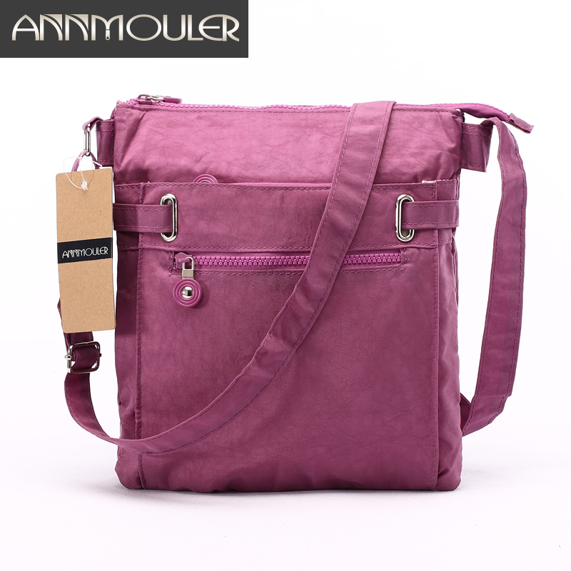 Annmouler Women Messenger Bags Brand Designer Women Bag Casual Nylon Black Crossbody Väska Multi-pocket Small Bag bolsa feminina