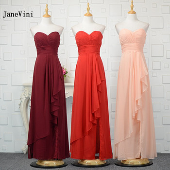 JaneVini Simple Long Bridesmaid Dresses A-Line 2018 Red Burgundy Chiffon Women Formal Party Prom Gowns Sweetheart Vestidos Dama