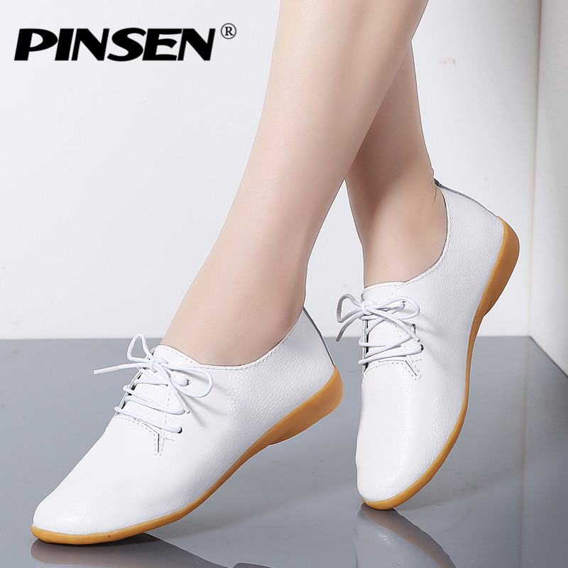 PINSEN Autumn Women Oxford Shoes Ballerina Flats Shoes Woman Genuine Leather Ladies Shoes Lace-up Loafers Moccasins White Shoes plus size 34 50 spring women oxford shoes flats loafers ladies shoes patent leather lace up boat shoes round toe flats moccasins