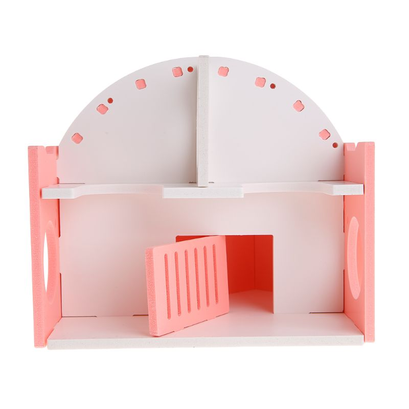 Pet House Villa Double Layer Balcony Nest Play Funny Hiding Place Sleeping Wooden Cage For Hamster Squirrel Chinchilla Guinea in Cages from Home Garden