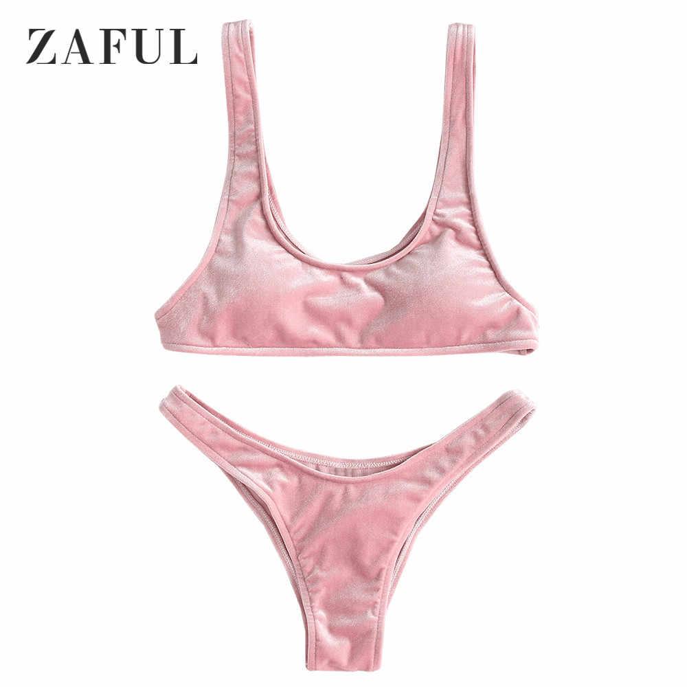 af890ab4f4 ZAFUL Velvet Bikini High Cut Thong Bottom Bikini Set Sexy U Neck Women  Swimsuit Solid Padded