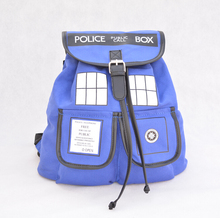 Doctor Who Backpack Canvas Printed Cartoon Dr Who Tardis Buckle Slouch Children School bag Police Box mochila feminina Backpacks