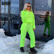 Auyiufar Green Two Piece Set Women Drawstring Crop Top and Pants Hip Hop Club Festival Outfit Tracksuit New Sport Joggers Suit hooded crop top and drawstring camo pants