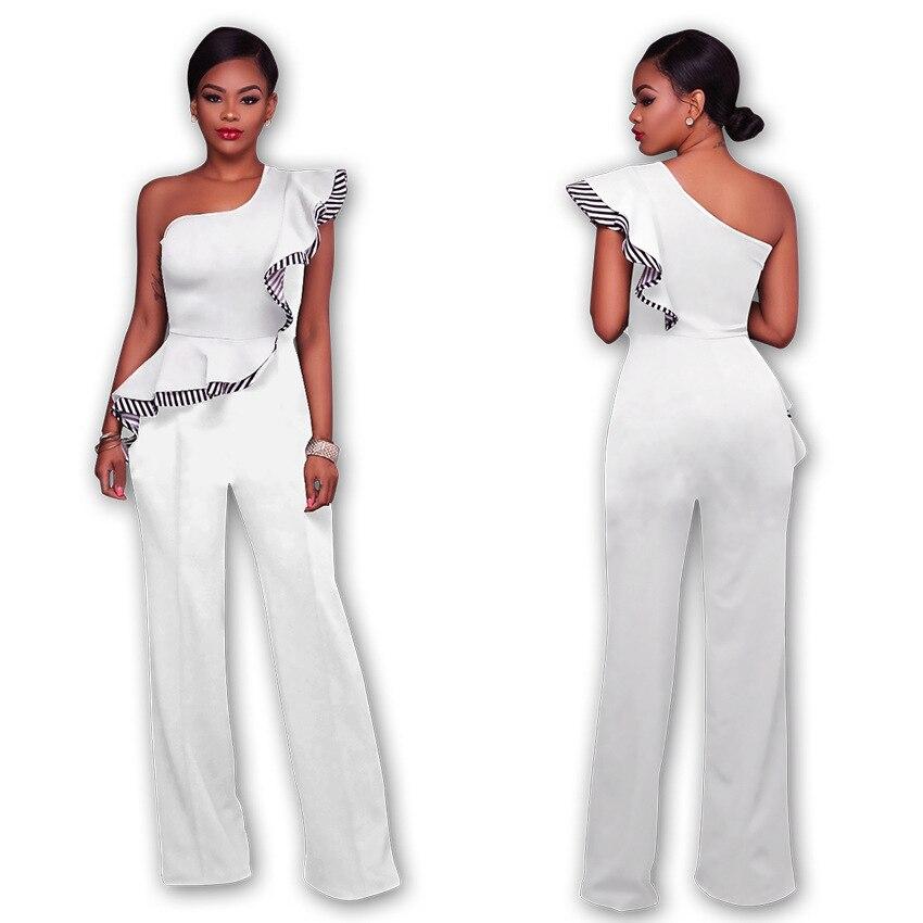 2dc4e45108d7 Mono de una pieza largo sin mangas a rayas para mujer elegante de pierna  ancha con hombros ...