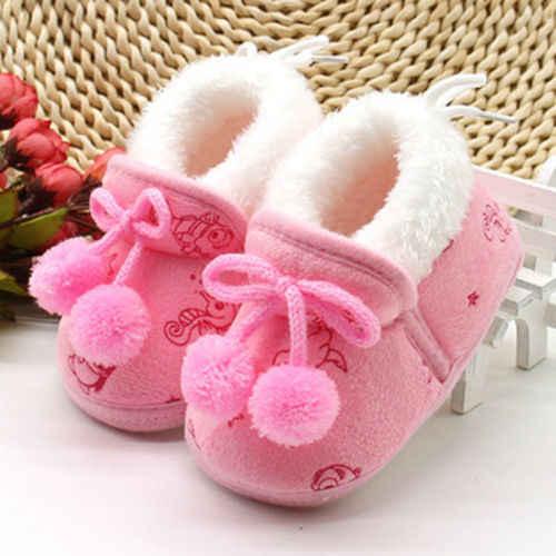 Cotton Newborn Winter Warm First Walker Baby Boy Girl Kid Plush Warm Soft Cotton Sole Crib Shoes 0-18M Toddler Sneaker Shoes