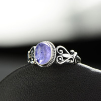 Genuine Solid 925 Sterling Silver Flower Rings Wedding Women Accessories Tanzanite Natural Stone Beautiful Fine Jewelry Anelli