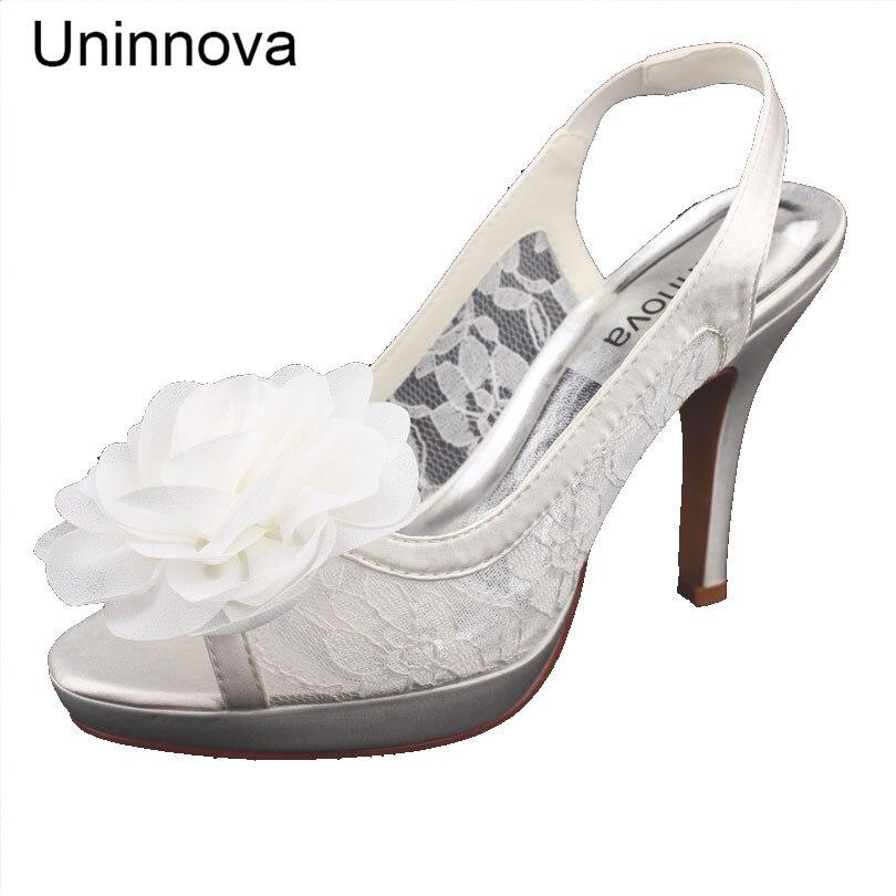 Demoiselles d'honneur de mariée ivoire blanc mariage Peep Toe plate-forme talons hauts dentelle fleur Slingbacks pompes grand jour Uninnova 521-50 LY