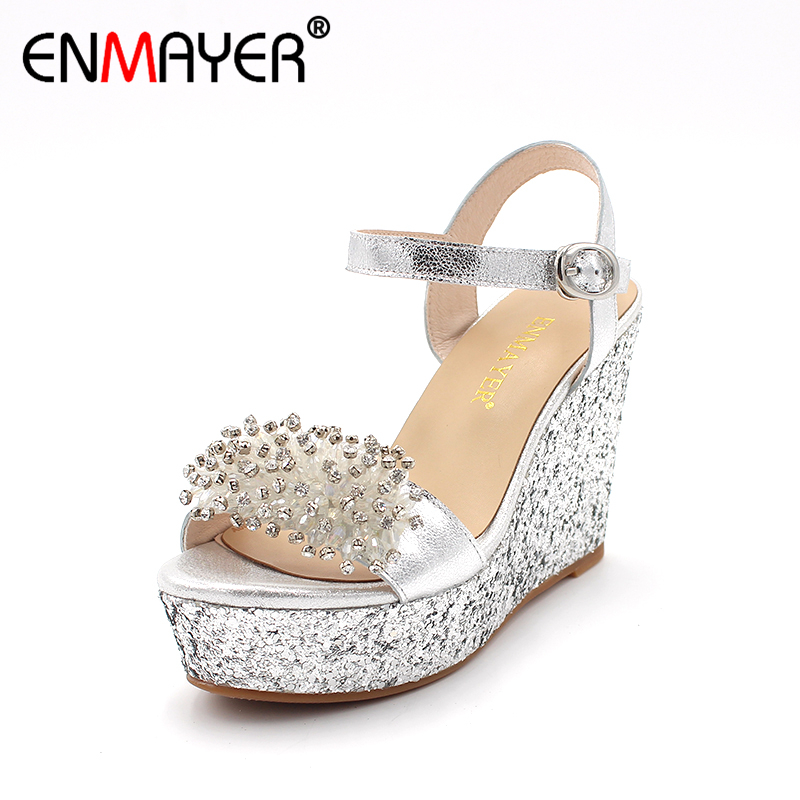 ENMAYER Summer Rhinestone Ladies Sandals Women High Heels Wedges Shoes Woman Platform Sandals Ctrystal Wedding Women's Shoes phyanic 2017 gladiator sandals gold silver shoes woman summer platform wedges glitters creepers casual women shoes phy3323