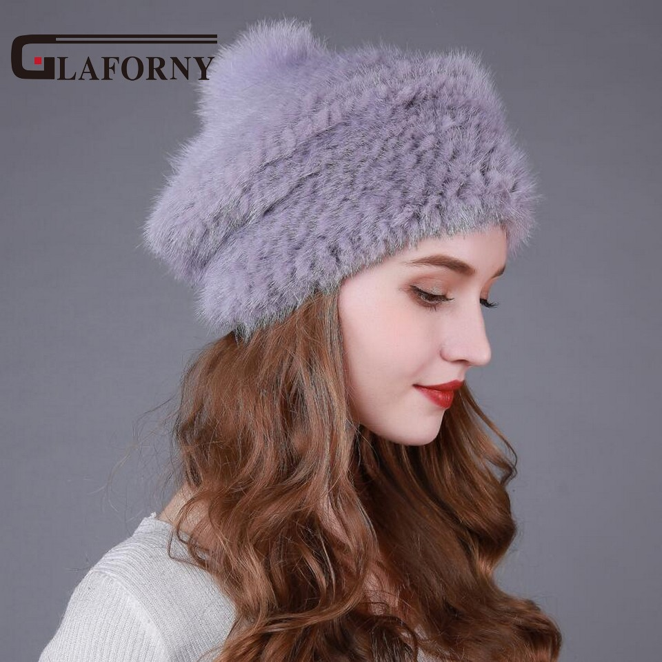 2017 New Style Women Winter Mink Fur Hats Real Fur Caps Thick Knitted Mink Fur Berets