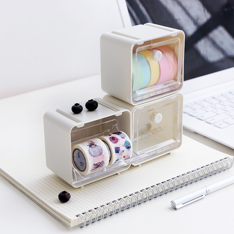 Japanese Washi Tape Dispenser Cutter Office Organizer Transparent Stationery Holder